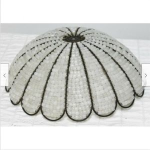Other - Glass White Beaded Lamp Shade Metal Frame Scallop